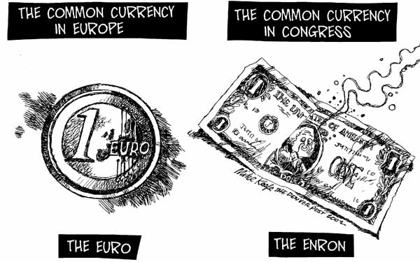 Common Currency Mike Keefe Political Cartoon 01 24 2002