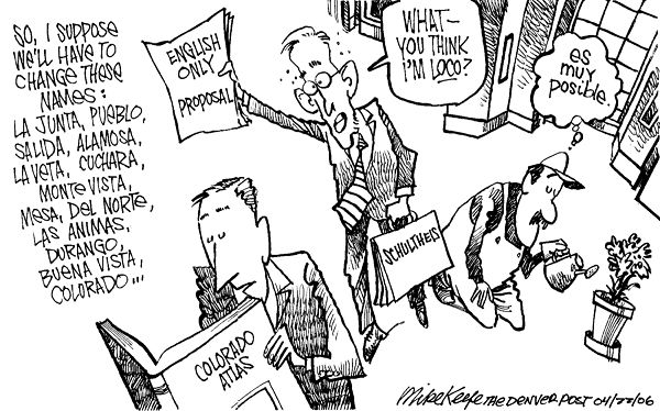 english only proposal mike keefe political cartoon 04 22 2006