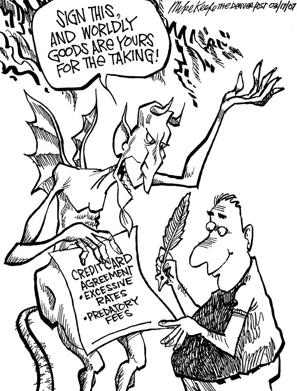 credit card fees mike keefe political cartoon 03 17 2007