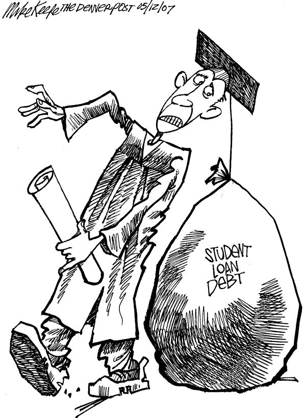 Student Loan Debt Mike Keefe Political Cartoon 05122007
