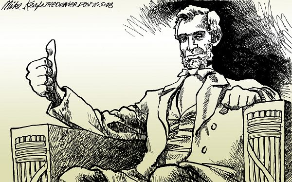 Lincoln Thumbs Up Mike Keefe Political Cartoon 11 05 2008